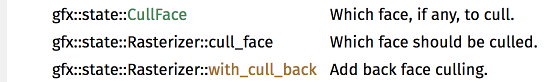 Search results, including CullFace and with_cull_back