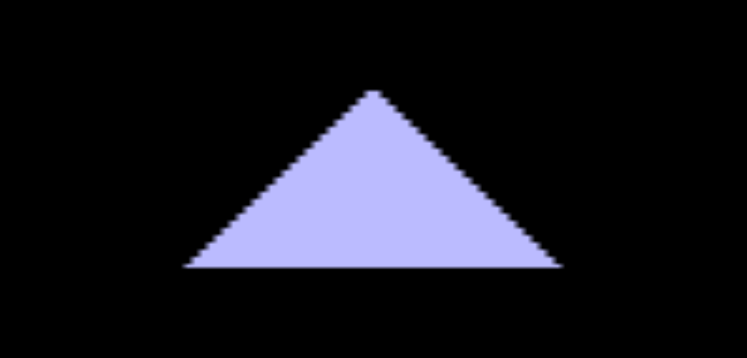 A pixellated, badly scaled triangle.